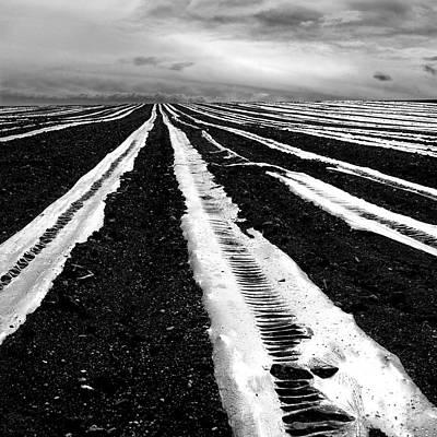 Plastic Tarp In A Field. Auvergne. France Print by Bernard Jaubert