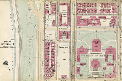 Harlem Drawing - Plate 132 Bounded By W. 122nd Street, Amsterdam Avenue by Litz Collection