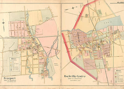Rockville Drawing - Plate 15 Freeport, Town Of Hempstead - Rockville Centre by Litz Collection