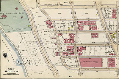 Harlem Drawing - Plate 168 Bounded By W. 173rd Street, St. Nicholas Avenue by Litz Collection