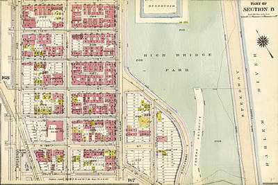 Harlem Drawing - Plate 169 Bounded By W. 173rd Street, Amsterdam Avenue by Litz Collection