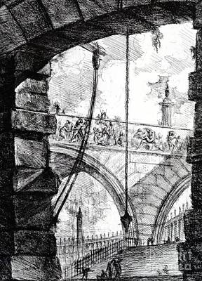 Dungeon Drawing - Plate 4 From The Carceri Series by Giovanni Battista Piranesi