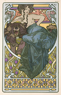 Border Drawing - Plate Forty Seven From The Book Documents Decoratifs by Alphonse Marie Mucha