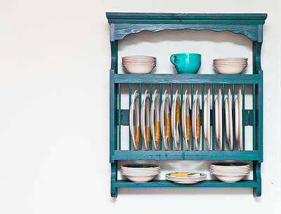 Wooden Ware Photograph - Plate Rack by Tom Gowanlock