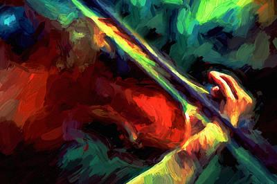 Violin Mixed Media - Play Gypsy Play - Abstract Realism by Georgiana Romanovna