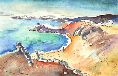 Canary Drawing - Playa Blanca In Lanzarote 01 by Miki De Goodaboom
