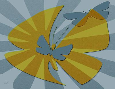 Fluttering Digital Art - Playful Butterflies In Blue And Yellow by Ben and Raisa Gertsberg