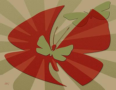 Fluttering Digital Art - Playful Butterflies In Red And Green by Ben and Raisa Gertsberg