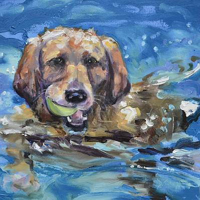 Puppy Painting - Playful Retriever by Donna Tuten