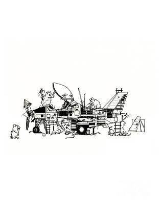 Cockpit Drawing - Playground by Julio Lopez