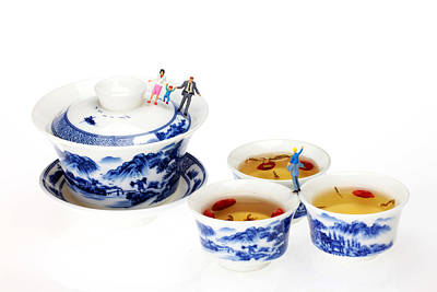 Food And Beverage Photograph - Playing Among Blue-and-white Porcelain Little People On Food by Paul Ge
