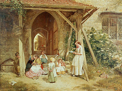 Playing At Schools Print by Charles James Lewis