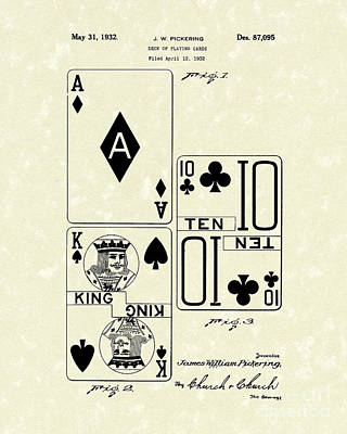 Cards Drawing - Playing Cards 1869 Patent Art by Prior Art Design