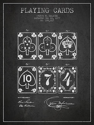 Toys Digital Art - Playing Cards  Patent Drawing From 1877 - Dark by Aged Pixel