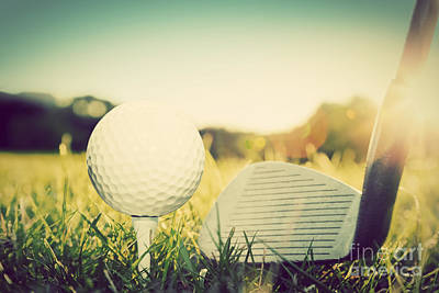 Hit Photograph - Playing Golf Ball On Tee And Golf Club by Michal Bednarek