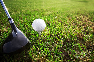 Play Photograph - Playing Golf. Club And Ball On Tee by Michal Bednarek