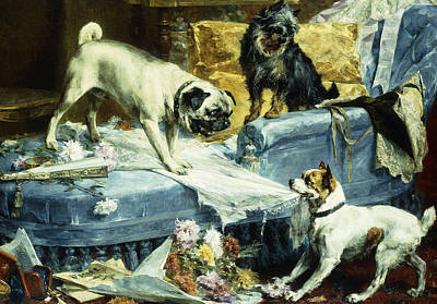 1890s Painting - Playing Havoc by Charles van den Evcken