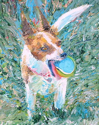 Dog Playing Ball Painting - Playing Is My Business...and The Business Is Good by Fabrizio Cassetta