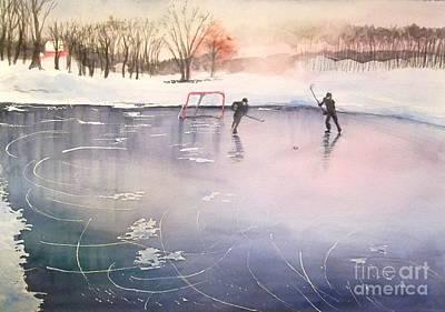 Ice Hockey Painting - Playing On Ice by Yoshiko Mishina