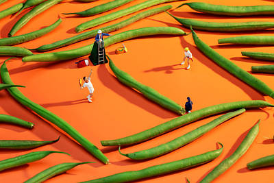 Micro Miniature Photograph - Playing Tennis Among French Beans Little People On Food by Paul Ge