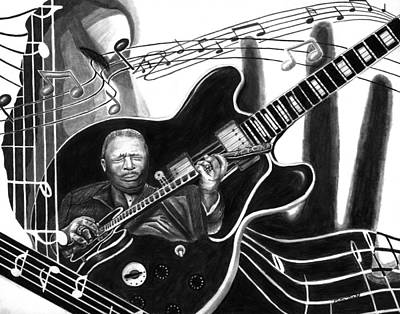 Celebrity Drawing - Playing With Lucille - Bb King by Peter Piatt