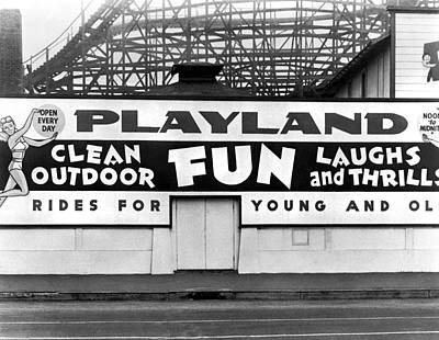 Roller Coaster Photograph - Playland At The Beach by Underwood Archives