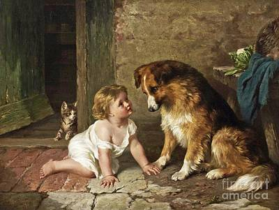 Purebred Painting - Playmates by Celestial Images