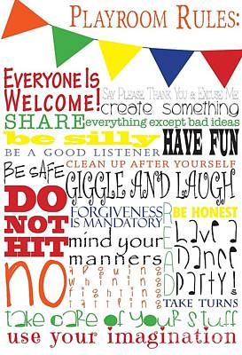 Bunting Digital Art - Playroom Rules by Sarah St Pierre