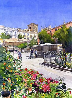Plaza Bib Rambla Painting - Plaza Bib-rambla With Flowers by Margaret Merry
