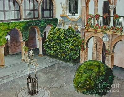 Plaza Del Zoco Cordoba Spain Print by Sobeida Salomon
