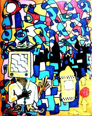 Basquiat Drawing - Please Brainwash The Cowboy by Rick Burgunder