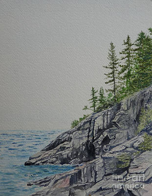 Watercolour Painting - Please Post Votes Or Comments On Alternate Image.a Grey Day On Agawa Bay  by Lori Kallay