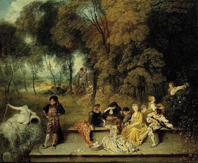 Antoine Watteau Painting - Pleasures Of Love by Antoine Watteau