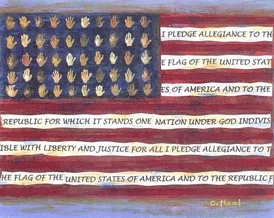 Red White And Blue Mixed Media - Pledge Flag by Carol Neal