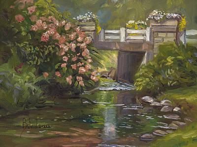 Plein Air - Bridge And Stream Original by Lucie Bilodeau
