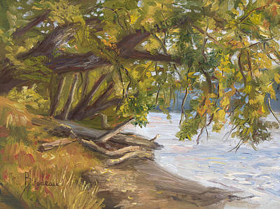 Massachusetts Painting - Plein Air - Chicopee River by Lucie Bilodeau