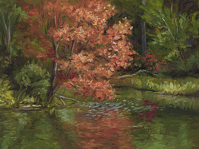 Pond Painting - Plein Air - Red Tree by Lucie Bilodeau