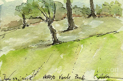 Park Scene Painting - Plein Air Sketchbook. Arroyo Verde Park Ventura June 23. 2012 Trees On A Hill Bending by Cathy Peterson