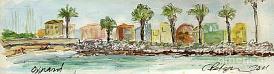 Plein Air Sketchbook. Oxnard California 2011. Entrance To The Harbor From The North Jetty Print by Cathy Peterson