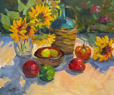 Sunflowers Still Life Painting - Plein Air Sunflowers by Diane McClary