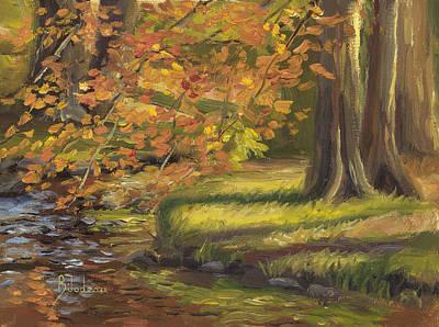 Plein Air - Trees And Stream Original by Lucie Bilodeau