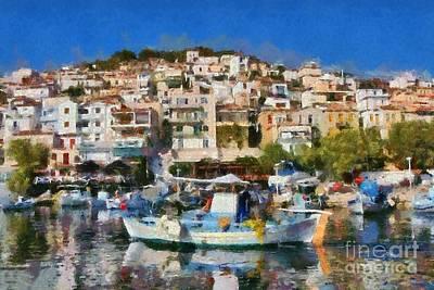 Boat Painting - Plomari Town by George Atsametakis