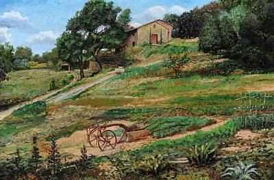 Plough, Cortona, 1999 Oil On Canvas Print by Trevor Neal