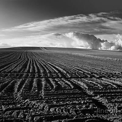 Plowed Field In Limagne. Auvergne. France Print by Bernard Jaubert