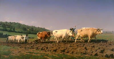 Farm Team Painting - Plowing In Nevers by Mountain Dreams