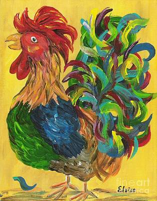 Fiestaware Painting - Plucky Rooster  by Eloise Schneider
