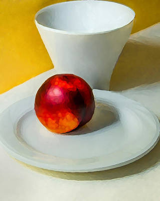 Plum And Cup Print by Richard Marquardt