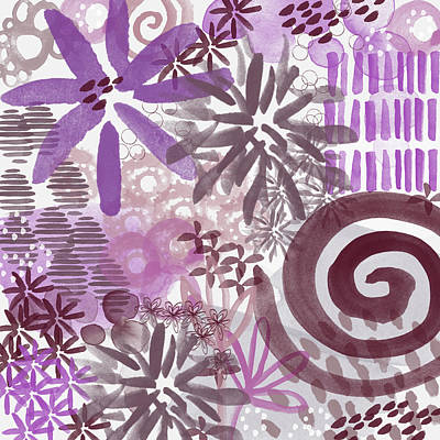 Mums Mixed Media - Plum And Grey Garden- Abstract Flower Painting by Linda Woods