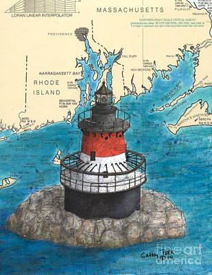 New England Lighthouse Painting - Plum Beach Lighthouse Ri Nautical Chart Art Peek by Cathy Peek