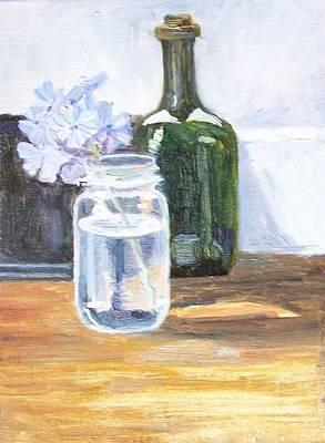 Plumbago In Glass Jar Print by Mary Adam